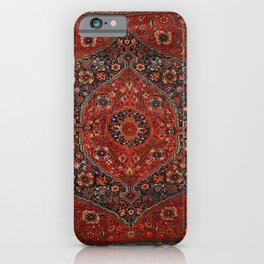 Persian Joshan Old Century Authentic Colorful Red Rusty Blue Vintage Rug Pattern iPhone Case