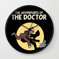 tintin Wall Clocks featuring The Adventures Of The Doctor by Deborah Picher Illustrations
