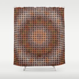 Wooden Circular Wood Weave Pattern Shower Curtain