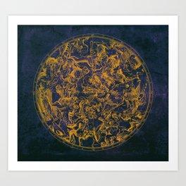 Vintage Constellations & Astrological Signs   Purple Galaxy Art Print