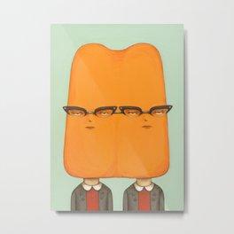 Siamese Twin Pop - Orange Metal Print