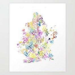 Typographic Brooklyn - Multi Color Watercolor map art Art Print
