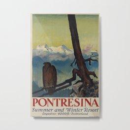 Pontresina Vintage Travel Poster Metal Print