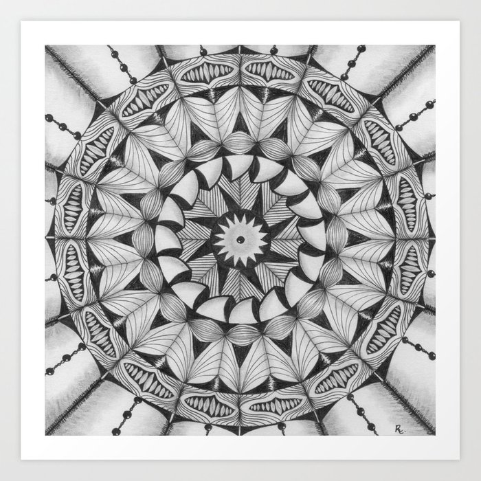 Zendala - Zentangle®-Inspired Art - ZIA 30 Art Print