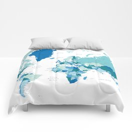 Teal and blue world map with cities - SIZES LARGE & XL ONLY Comforters