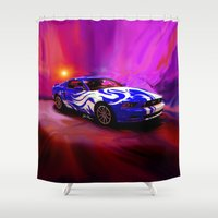 mustang Shower Curtains featuring Wild Mustang by JT Digital Art
