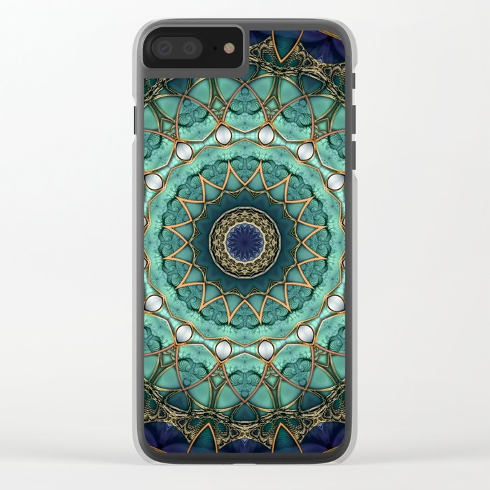 Majestic Topaz Ocean Kaleidoscope Clear iPhone Case