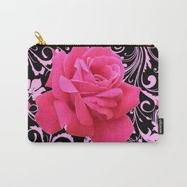 ORNATE  BLACK & PINK ROSE GARDEN PATTERN Carry-All Pouch