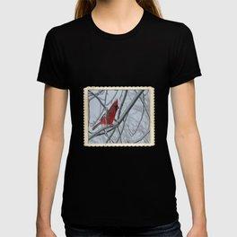 Redbird on Icy Tree Branch T-shirt