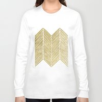 gold foil Long Sleeve T-shirts featuring Gold Foil Chevron by Berty Bob