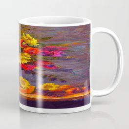 Awesome Blue Vase Fruit & Sunflowers Still Life Coffee Mug