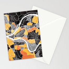 Pittsburgh Map Stationery Cards
