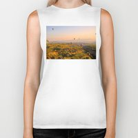 hot air balloons Biker Tanks featuring Hot Air Balloons Over Landscape by Limitless Design