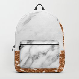 Marble and brass glitter Backpack
