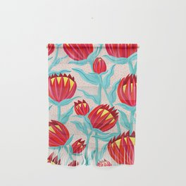 Bold Protea Flower Pattern - Red Yellow Green Wall Hanging