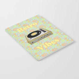 Retro Vibes Record Player Design in Yellow Notebook