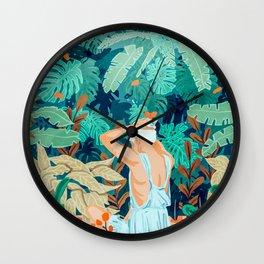 Backyard #illustration #painting Wall Clock