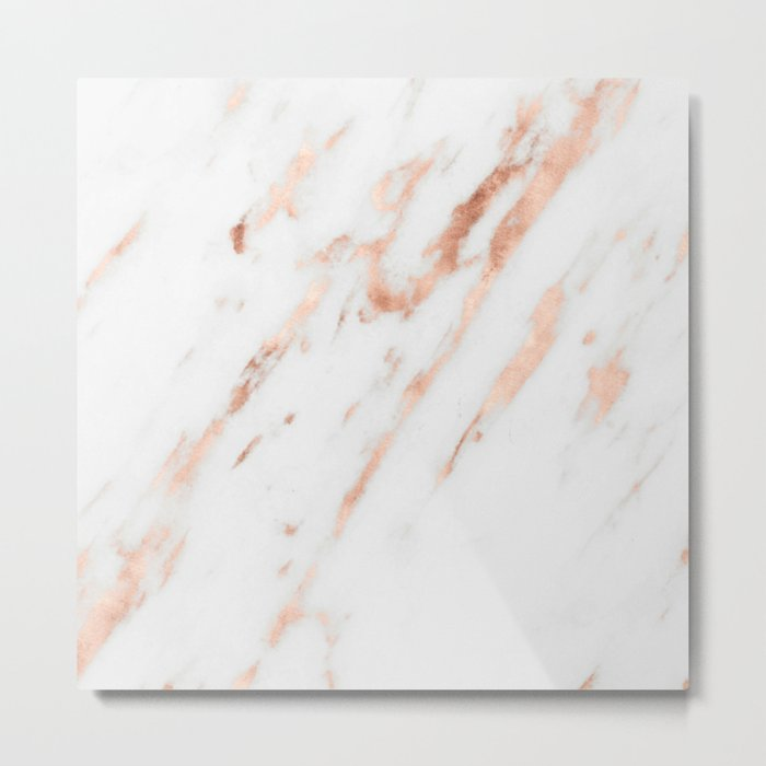 Pink Quartz Marble Rose Gold White Metal Print