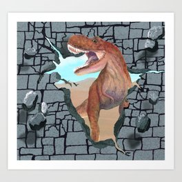 Hungry Dinosaur Smashes Through the Wall Art Print