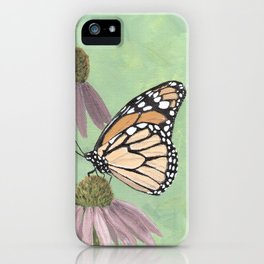 Monarch Butterfly Art, Orange Butterfly Painting iPhone Case