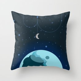 Moon and Planet Throw Pillow