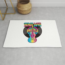 Peace Love Music Vinyl Rug