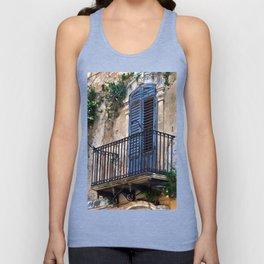 Blue Sicilian Door on the Balcony Unisex Tank Top