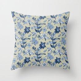Monochrome Tan and Blue Alpine Flora Throw Pillow
