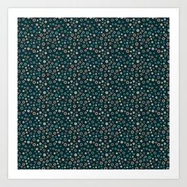 Festive Teal Snowflake Pattern Art Print