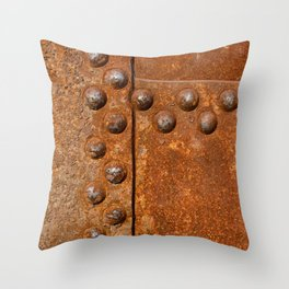 Rusty metal wall surface Throw Pillow