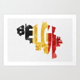 Countries map art prints society6 belgium belgi typographic world map belgium typograpy flag map art art print gumiabroncs Images