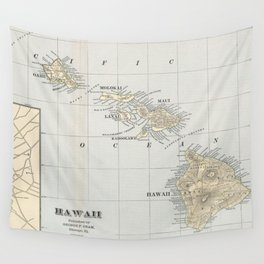 Vintage Map of Hawaii (1901) Wall Tapestry