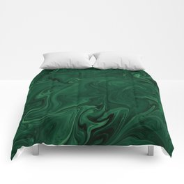 Modern Cotemporary Emerald Green Abstract Comforters