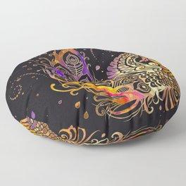 Colorful Glow Phoenix Bird Floor Pillow