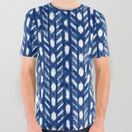 Indigo Geometric Shibori Pattern - Blue Chevrons on White All Over Graphic Tee