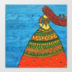 By The Sea madhubani painting Canvas Print
