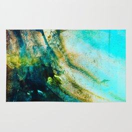 STORMY TEAL ABSTRACT PAINTING Rug