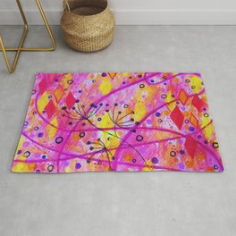 INTO THE FALL 2 - Whimsical Pink Purple Autumn Floral Watercolor Abstract Nature Pattern Fine Art  Rug