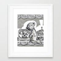 teddy bear Framed Art Prints featuring Teddy by Alison Day Designs