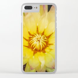 Yellow Water Lilly Clear iPhone Case