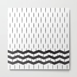 Black and white abstract geometric rain and sea Metal Print