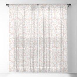 Baroque Pattern - Pink Pastel Sheer Curtain
