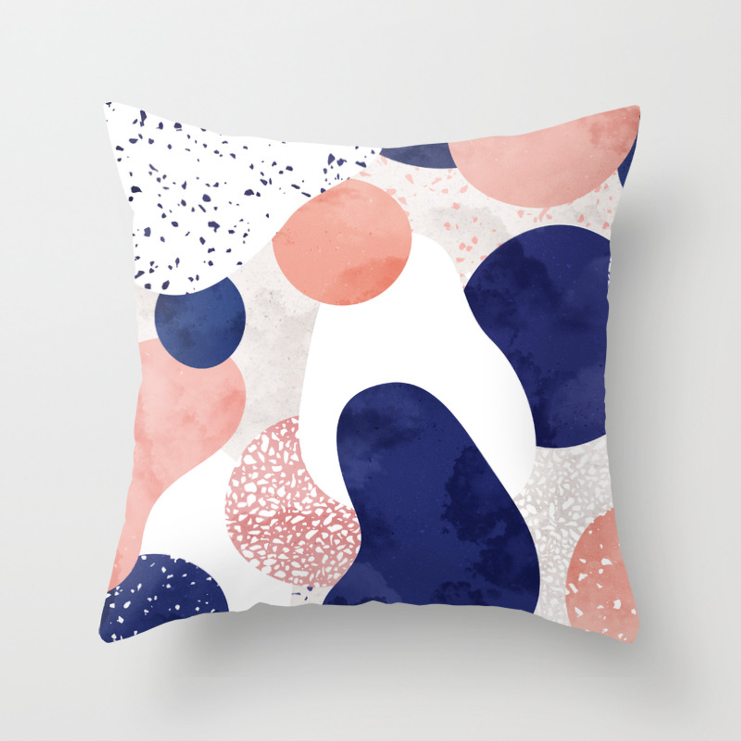 Terrazzo galaxy pink blue white Throw Pillow by sylvaincombe