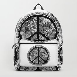 Zen Doodle Peace Symbol Black And White Backpack