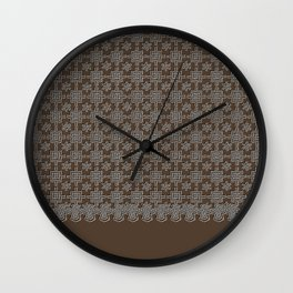 Rich Chocolate Color Crochet Square Lace Pattern Wall Clock