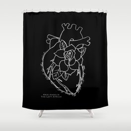 Flowering Left Atrium in White Shower Curtain