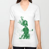 cello V-neck T-shirts featuring Cello and flowers by Design4u Studio