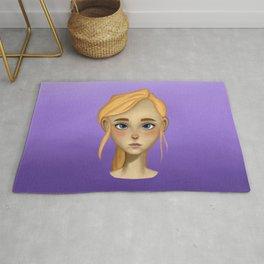 Cute blonde girl digital painting Rug