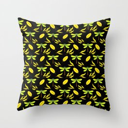 Pretty beautiful yellow golden dragonflies, leaves elegant stylish black nature spring pattern Throw Pillow