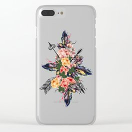 Art boho design with arrows, feathers and flowers. Wild way Clear iPhone Case